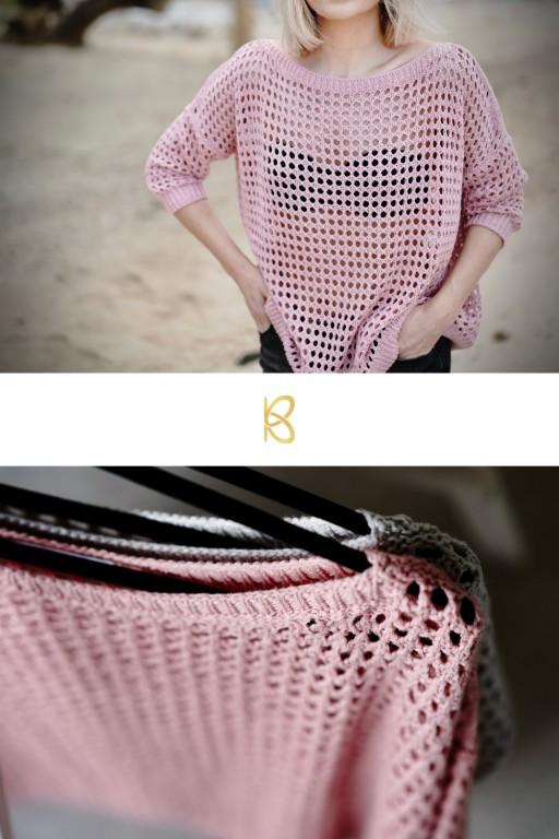 Ażurowy, letni sweter, różowy