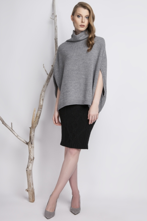 Plain turtleneck poncho, gray