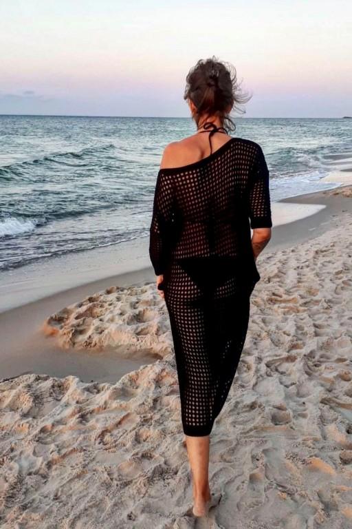 Sukienka z ażurowej sieci, czarna